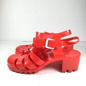 Rouge Red Jelly Platform  Block Heels Size 10